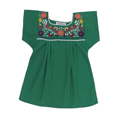 bf85326a46ced8 Amazon.com  Mexican Clothing Co Little Girls Mexican Blouse Traditional  Tehuacan Poplin CT  Clothing
