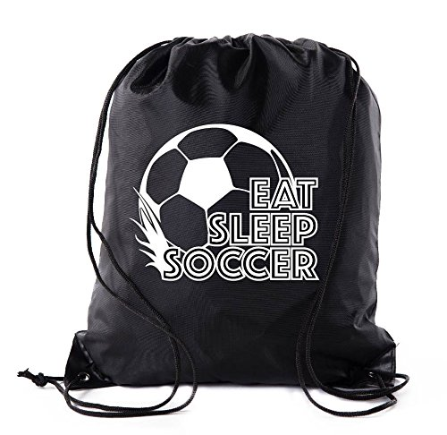 Soccer Party Favors | Soccer Drawstring Backpacks for Birthday Parties, Team events, and much more! - 10PK Black CA2500SOCCER S3]()