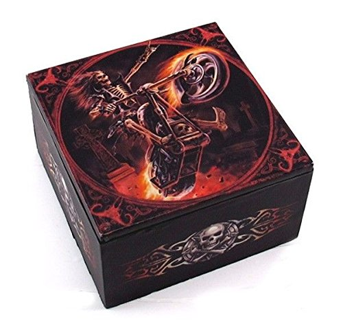 Fiery Skeleton Ghost Hell Rider Jewelry Mirror Box By Keepsake (Box Keepsake Rider)