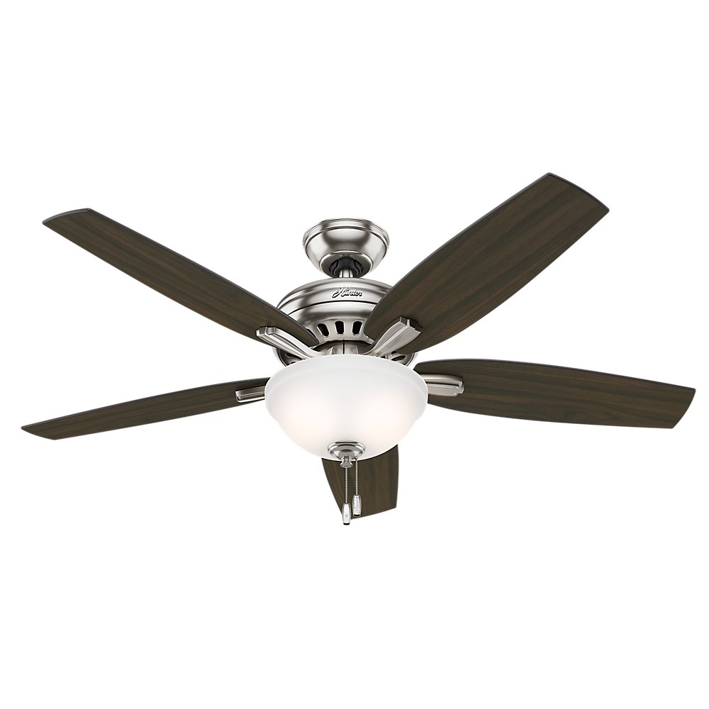 Hunter Indoor Ceiling Fan with light and pull chain control – Newsome 52 inch, Brushed Nickel, 53312