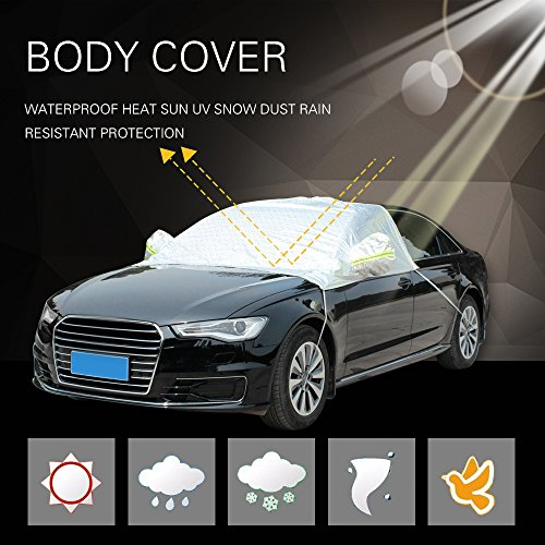 ECCPP Car Cover, Universal Fit 100% Breathable Waterproof Frost Resistant Cover All Weather Protection Auto Car Cover With Polyester 88.58″ Long for Cars Silver Grey – 1 Year Warranty(1pc)