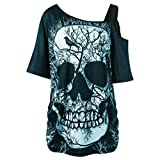 BCDshop Women Skull Short Sleeve Shirt Skew Collar One Cold Shoulder Top Blouse (Green, US Size S(Chest 36.2''))