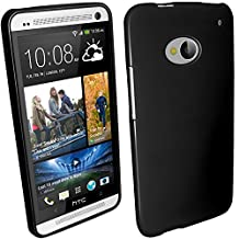 iGadgitz Black Glossy Durable Crystal Gel Skin (TPU) Case Cover for HTC One M7 Android Smartphone Cell Phone + Screen Protector