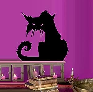"Scary Cat # 2 ~ HALLOWEEN: WALL OR WINDOW DECAL, 13"" X 15"" LRG"