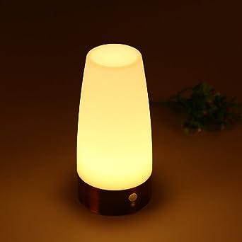 Qedertek Lámpara de Mesa Cilindra con Sensor de Movimiento de LED con Base de Cobre: Amazon.es: Iluminación