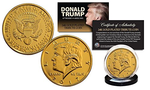 DONALD TRUMP 2017 PRESIDENTAL INAGURATION 24KT GOLD TRIBUTE COIN! W/H DISPLAY ()