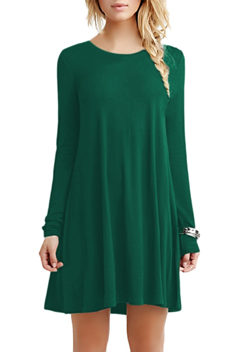51998e6c9487 Galleon - YMING Women Swing Pleated Shirt Dress Casual Round Neck Dress  Green M