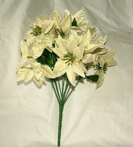 5 Tige Artificielle Métallique Poinsettia Bush-Noël Fleur-Or ou Argent