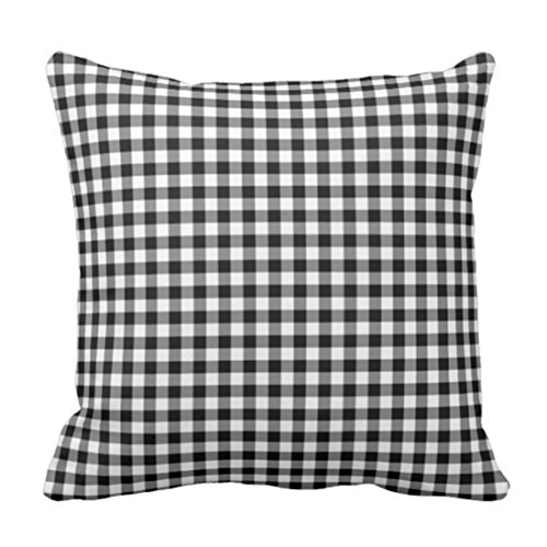 Pillow Checkered (Emvency Throw Pillow Cover Colorful Check Black and White Gingham Checkered Decorative Pillow Case Home Decor Square 18 x 18 Inch Pillowcase)
