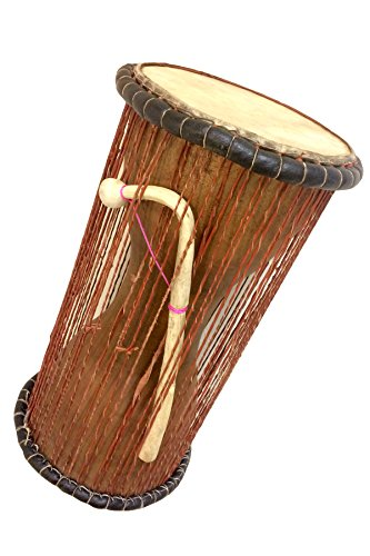 Classic Heartwood Dondo Talking Drum with stick - Large (8''x18'') - Ghana by Africa Heartwood Project