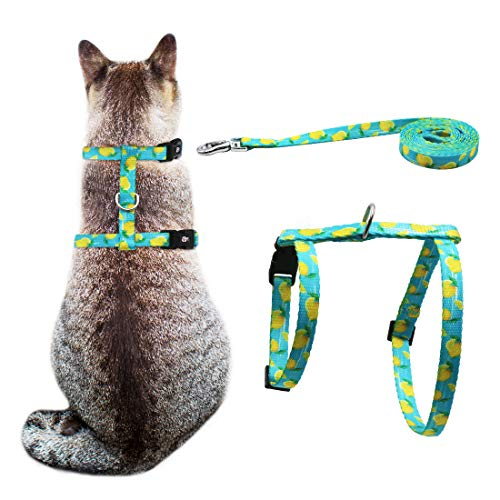 azuza Cat Harness and Leash for Walking Escape Proof, Cute Lemons in Bright Color, Soft Adjustable Harness for Cats