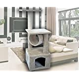 "CW 36"" Hiding Cat Tree Kitty Tree Private Soft-Sided at Condo Furniture Scratch Post Pole Pet Play House for Behavior Training"