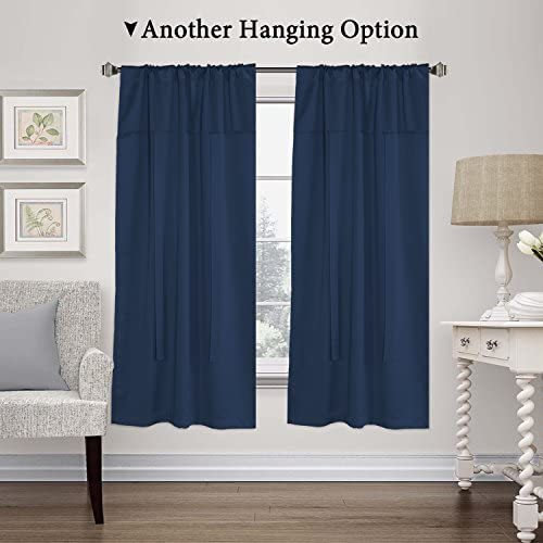 H.VERSAILTEX Blackout Tie Up Curtains Light Reducing Energy Efficient Window Shades Rod Pocket Panels for Kid s Room Set of 2 Panels, Navy Curtain, 42W x 63L