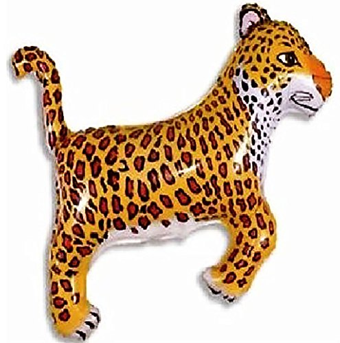 "Custom, Fun & Cool {XL Huge Giant Size 33"" Inches - 2.75 Feet} 1 Unit of Helium & Air Inflatable Mylar Aluminum Foil Balloon w/ Zoo Jungle Leopard Design [in Bright Light Orange, Brown, White & Black] ()"
