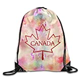Cheap Canada Maple Leaf Gym Bag Large Drawstring Backpack Sackpack For Shopping Sport Yoga