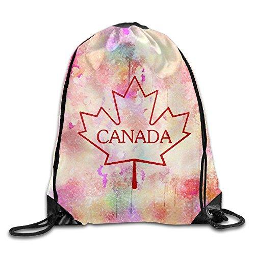Canada Maple Leaf Gym Bag Large Drawstring Backpack Sackpack For Shopping Sport Yoga