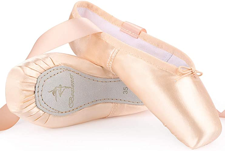 Skyrocket Girls Womens Dance Shoe Pink Satin Ballet Pointe Shoes with Ribbon and Toe Pads
