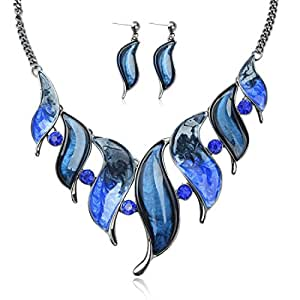 Ginasy Amber Vintage Statement Crystal Resin Jewelry Necklace and Earrings Sets Rhinestone for Women Girls - Art Prom Jewelry Gift in Acrylic Resin (Drop Shape Blue)