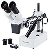 AmScope SE402Z Professional Binocular Stereo Microscope, WF10x and WF20x Eyepieces, 10X/20X/40X Magnification, 1X and 2X Objectives, Tungsten Lighting, Boom-Arm Stand, 110V-120V