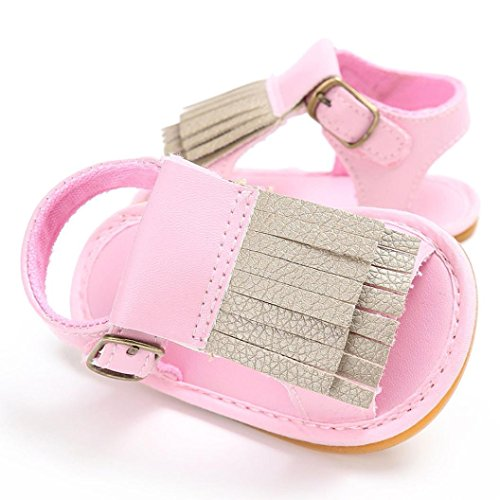 BZLine® Baby Neugeborenen Quaste Soft Sole Leder Schuhe Mädchen Sandalen Pink