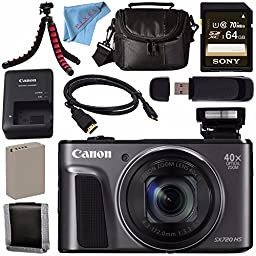 Canon PowerShot SX720 HS Digital Camera 1070C001 + NB-13L Lithium Ion Battery + External Rapid Charger + Sony 64GB SDXC Card + Micro HDMI Cable + Small Case + Memory Card Wallet Bundle