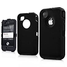 iPhone 4 4S Rugged Defender Durable Hard Back Case W/ Screen - Solid Black