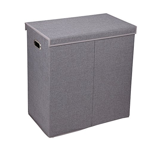 Household Essentials 5622-1 Double Hamper Laundry Sorter with Magnetic Lid Closure | Grey