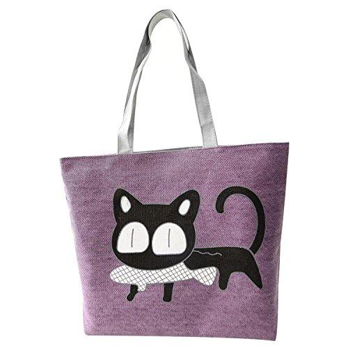 motif Sac a TOOGOO filles violet R chat poisson bandouliere de a violet du pour main sac du mangeant xHw85wX