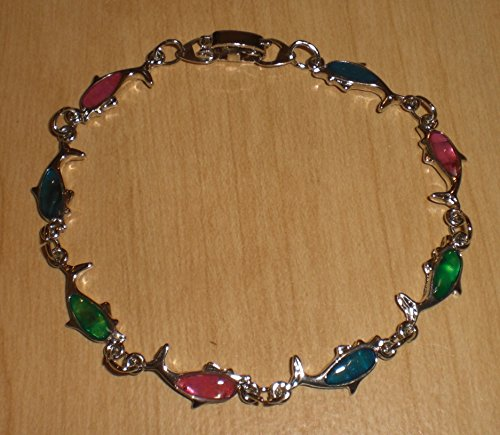 Dolphin Paua Shell - Genuine Paua Shell Dolphin Bracelet - Multi-Colored