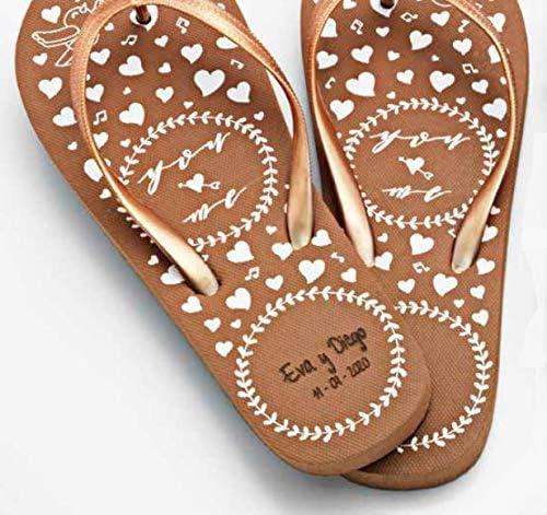 Momparler1870 Chanclas-Flip Flop *Love* Decoradas, Personalizadas y Bolsa Organza de Regalo - Pack 6 Unidades - Regalo Ideal para Eventos: Amazon.es: Hogar