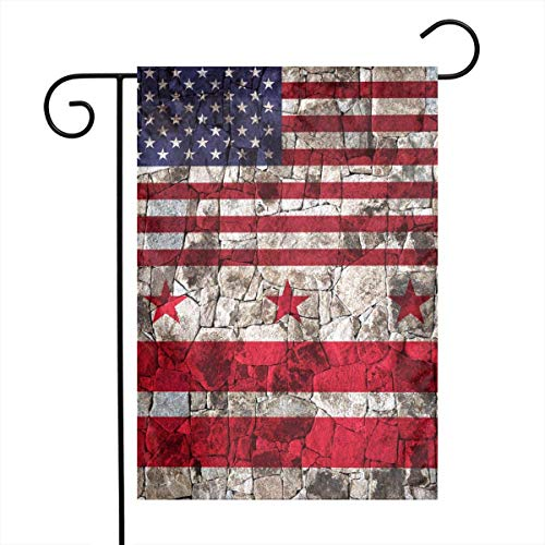 Dongingp Washington DC Half American Flag Garden Flag Welcome & Happy Birthday Flags for Celebration,Festival,Home,Outdoor,Garden Decorations 12 X 18 Inch -