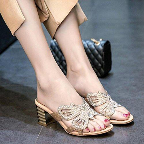 Supérieur Femme Talon Pantoufles Sandales pour Femmes PU Mode Abricot Talon Été Strass Moyen Épais Chaussures qFxBIS0EwB