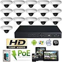 USG High Definition IP CCTV Kit: 1x 16 Channel NVR + 16x 3.6mm PoE IP Dome Cameras + 1x 2TB HDD Easy Setup View Remotely On Your Phone, Tablet & Computer High Definition CCTV Video Surveillance