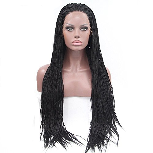 ig Fully Hand Tied Synthetic Box Braids Crochet Heat Resistant Hair Wigs for Black Women Natural Color 16 Inch ()