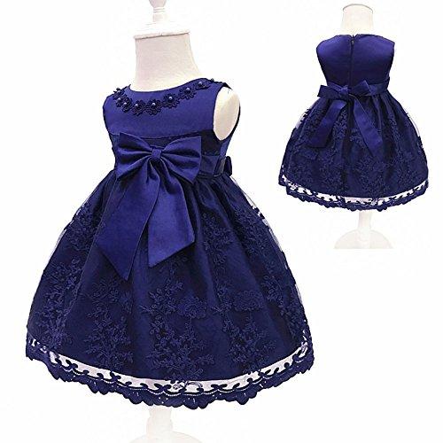 LZH Baby Girls Birthday Christening Dress Baptism Wedding Party Flower Dress (8135-Dark Blue,12M) -