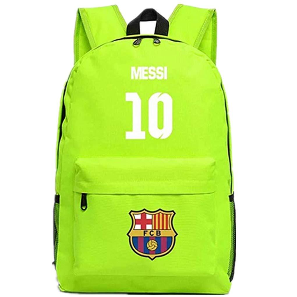 Barcelona Fans Backpack - Lionel Messi #10 Barcelona Rucksack for Back to School Noctilcent Bag (Messi Green)