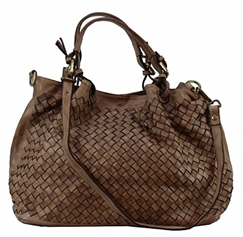 Schafsleder Bozana braun Neu Schultertasche toffee Rene Italy Handtasche Shopper Tasche Bag Damen Designer CRvCrfw
