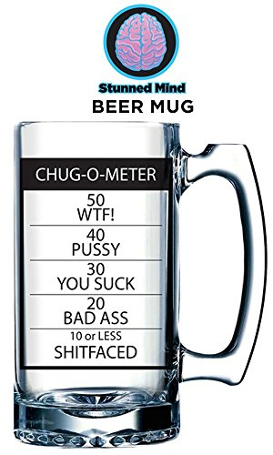 32oz OFFICIAL Chug-O-Meter PREMIUM Beer Stein Mug PERFECT NOVELTY - Novelty Beer Steins