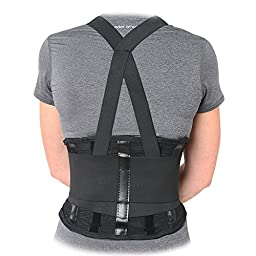 Premium Industrial Back Brace Lumbar Support with Double Pull Shoulder Straps and Adjustable Suspenders - Large
