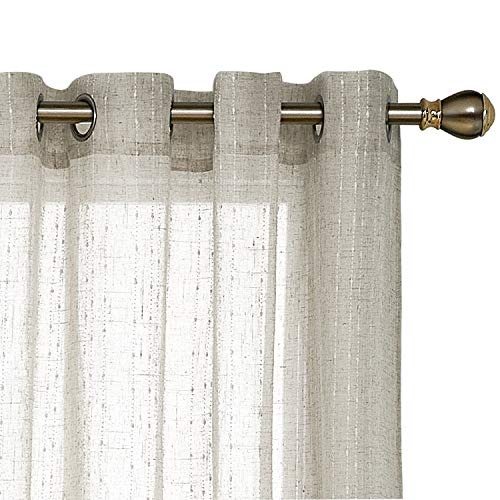 (Deconovo Linen Look Semi Sheer Curtains Vertical Line Grommet Drapes for Living Room 52 x 95 Inch Line Flaxen 2 Panels)