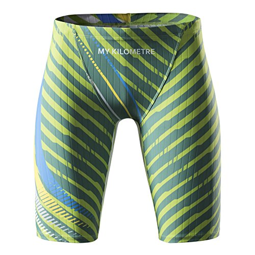 02bfd9bb5f MY KILOMETRE Men's Swim Jammers Quick Dry Swimsuit Chlorine Resistant  Compression Racing Swimsuit(XXL Green)