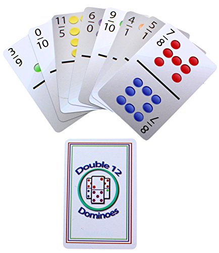 Double 12 Domino Playing Cards, 91 Travel-Sized Domino Cards with Color Dots (Mexican Train Number)
