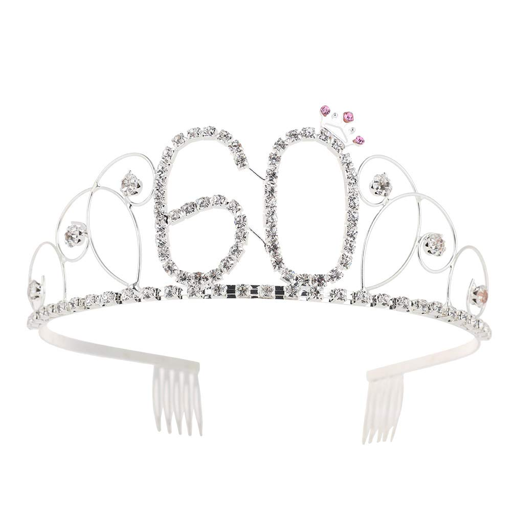 Sanwood 60st Birthday Tiara Crystal Rhinestone Women 60st Birthday Crown with Combs Party Accessories Silver