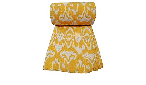 Best Selling Hand Made Yellow First Ikat Print Kantha Quilt Bed Spread Cotton Kantha Quilt