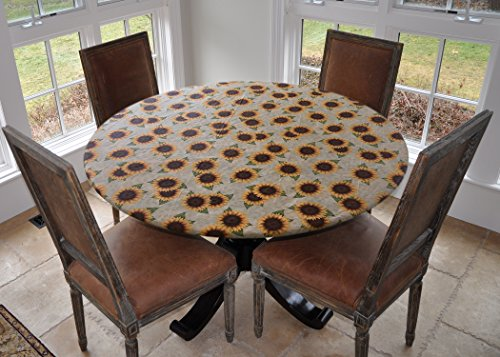 (Covers For The Home Deluxe Elastic Edged Flannel Backed Vinyl Fitted Table Cover - Sunflower Pattern - Large Round - Fits Tables up to 45