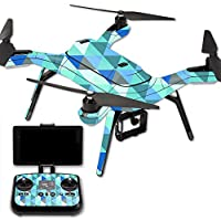 MightySkins Protective Vinyl Skin Decal for 3DR Solo Drone Quadcopter wrap cover sticker skins Blue Kaleidoscope