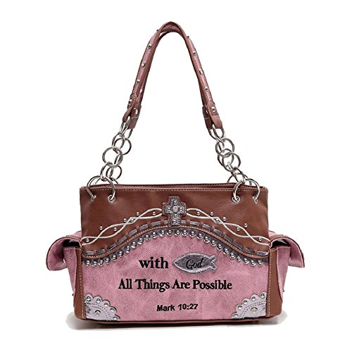 Cowgirl Trendy Western Cross, Fish and Bible Verse Purse w. Conceal Carry Pocket - Cross Cowgirl