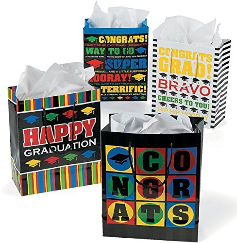 Paper Medium Graduation Gift Bags - 12 Bags in Assorted Styles -