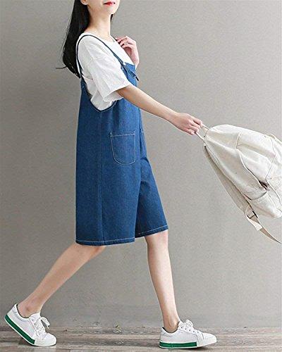 Overall Modernas Bolsillos Anchas Casual HaiDean Baggy Unicolor Monos Moda Mujer Ropa Vintage Denim Casual Elegantes con Blau Trabajo Vaqueros Verano De Pantalones PvqfpzUPA