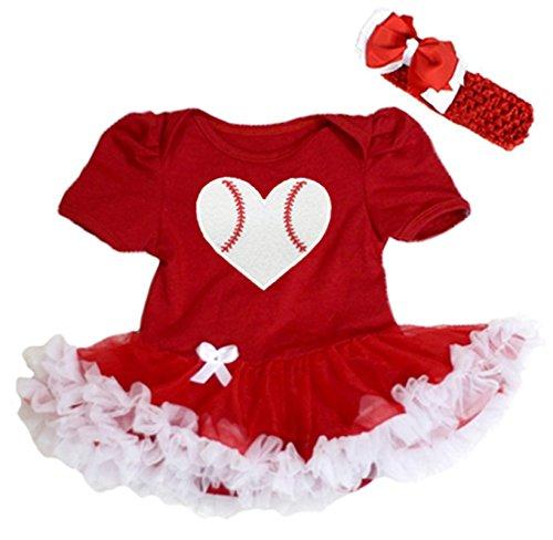 Baby Girl Baseball - Baseball Rugby Heart Cotton Bodysuit Red White Tutu Girl Baby Dress Nb-18m (3-6month)